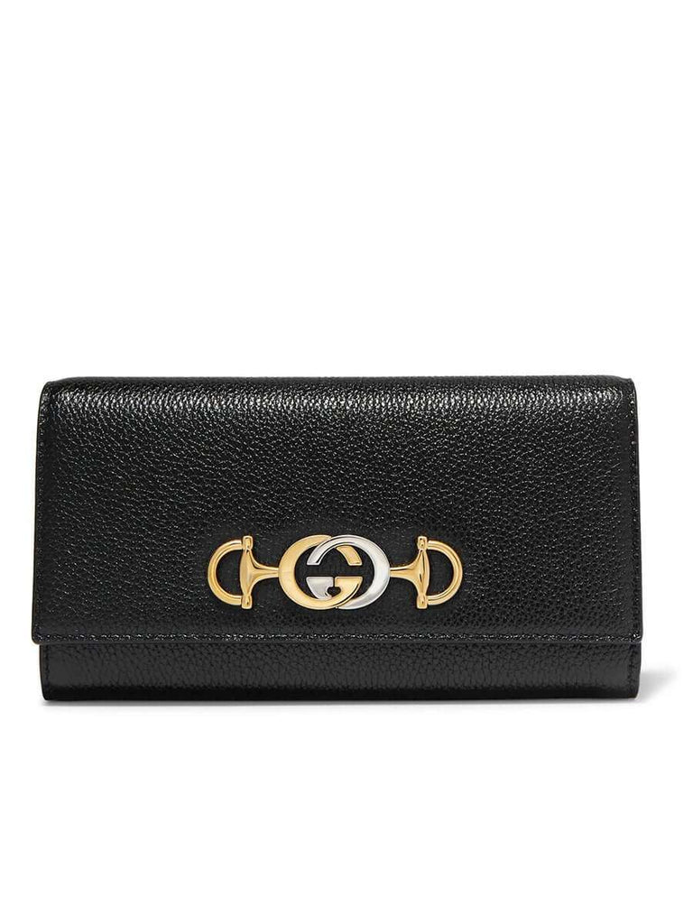 Zumi Embellished Black Textured-Leather Continental Wallet