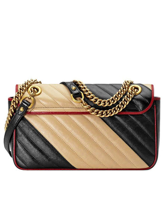 GG Marmont Mini Matelassé Beige & Black Leather Shoulder Bag