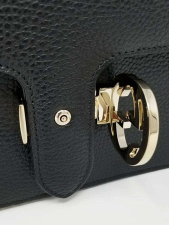 Interlocking GG Black Leather Crossbody Bag lock