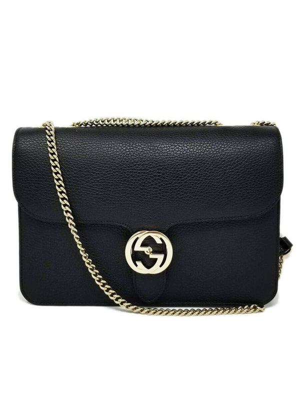 Interlocking GG Black Leather Crossbody Bag