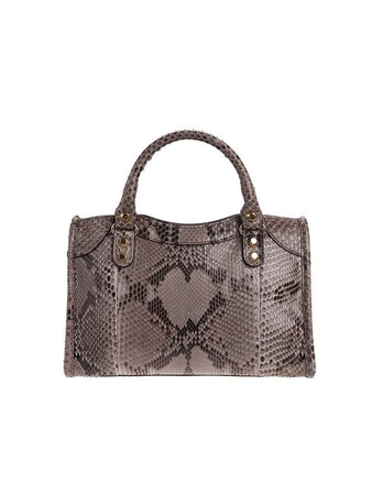 Classic City Mini Python Print Metallic Leather Tote back