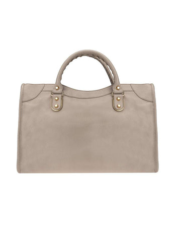 Classic Metallic Edge City Medium Nude Leather Tote back