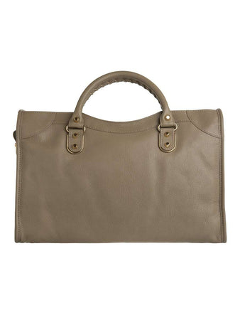 Classic Metallic Edge City Medium Rose Des Sables Leather Tote back