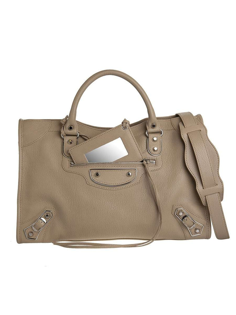 Classic Metallic Edge City Medium Gold Beige Praline Leather Tote gray