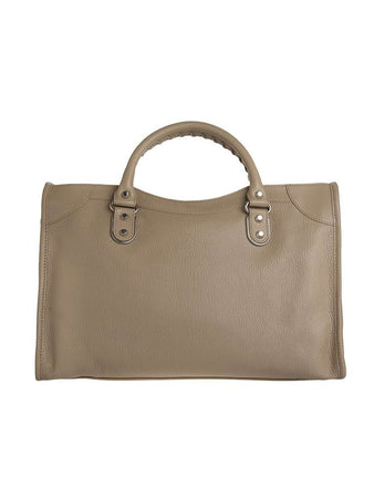 Classic Metallic Edge City Medium Gold Beige Praline Leather Tote gray back
