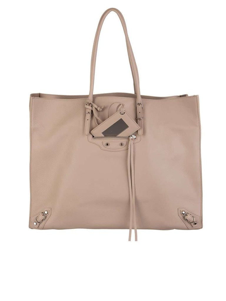 Papier A4 Zip Around Beige Leather Tote