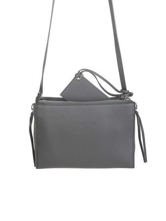 Papier Triple XS Zip Around Grey Leather Bag