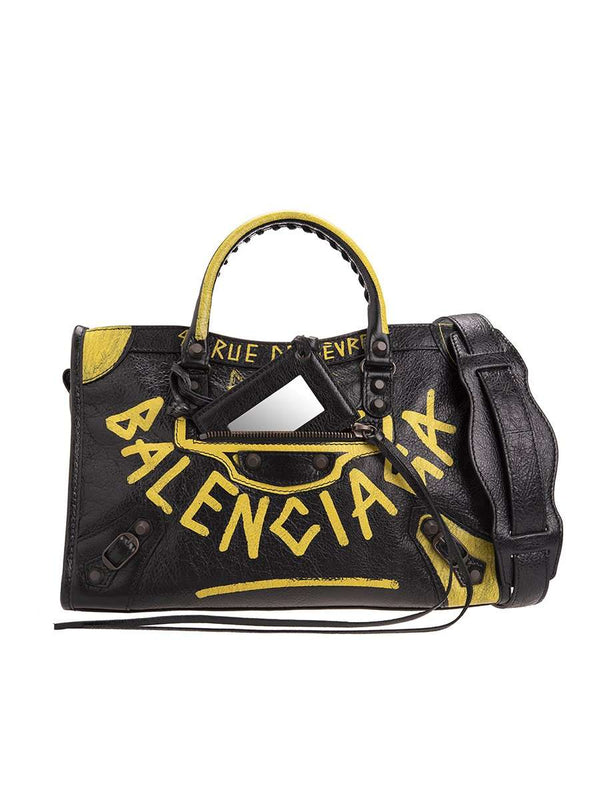 Classic City S Graffiti Black & Yellow Leather Tote