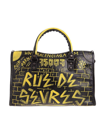 Classic City S Graffiti Black & Yellow Leather Tote front