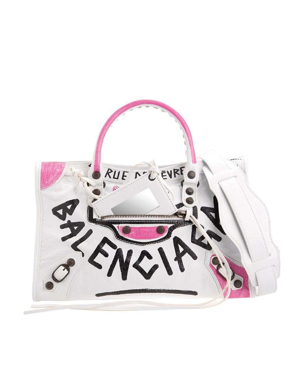 Classic City S Graffiti Pink White&Black Leather Tote