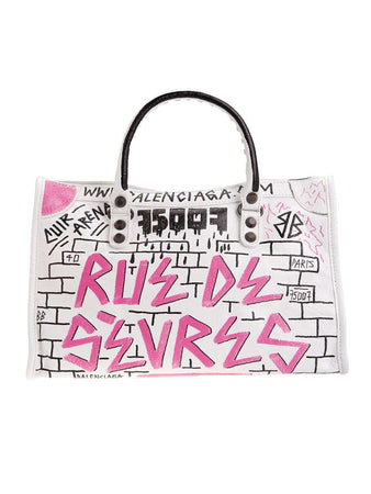 Classic City S Graffiti Pink White&Black Leather Tote back