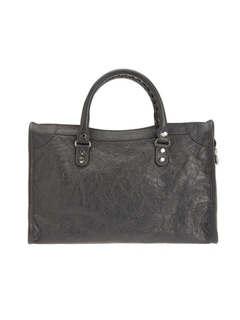 Classic City Silver Small Grey Leather Tote back
