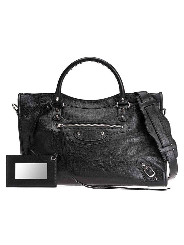 Classic City Shoulder Bag in Black Arena Lambskin