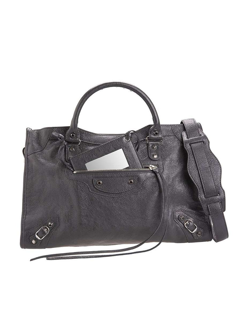 Classic City Grey Crinkled Leather Tote