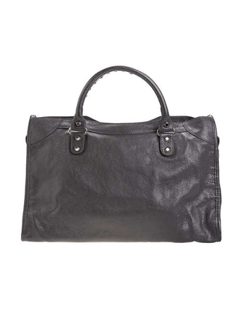 Classic City Grey Crinkled Leather Tote back