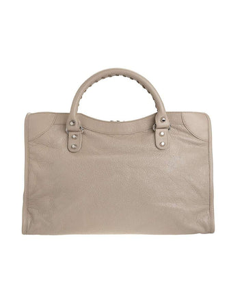 Classic City Beige Crinkled Leather Tote back