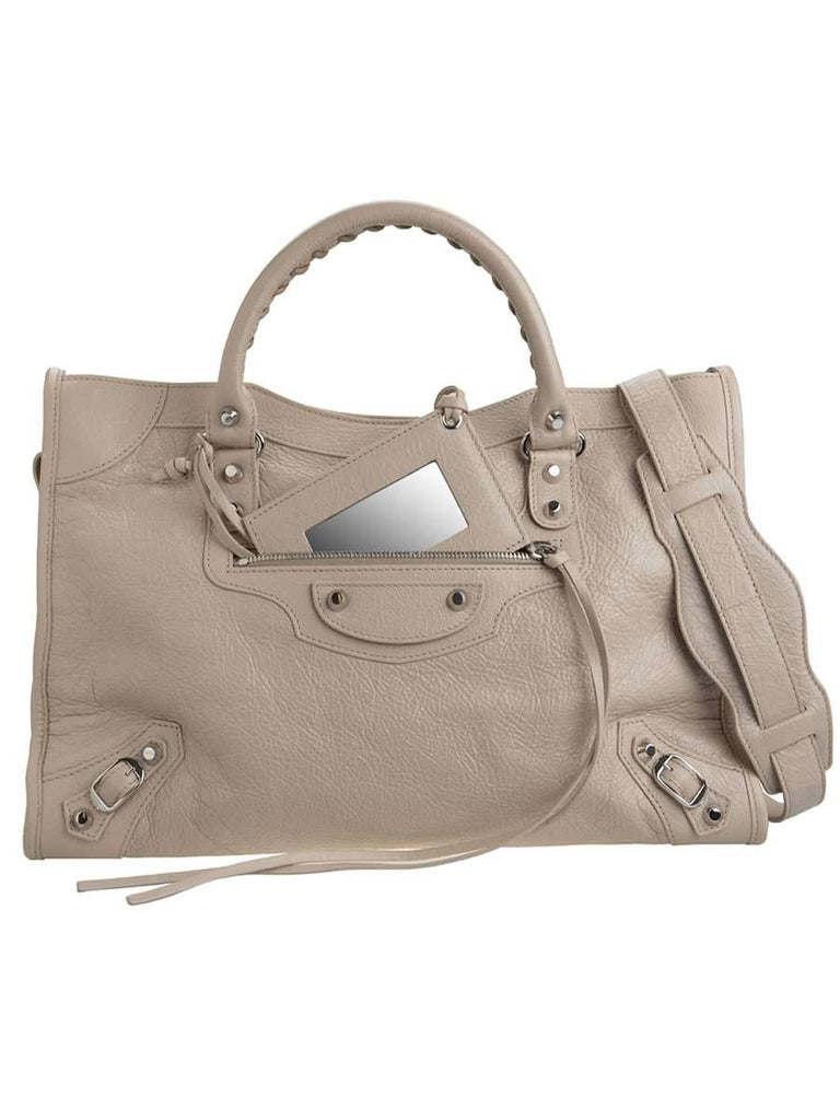 Classic City Beige Crinkled Leather Tote