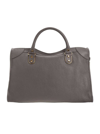 Classic Metallic Edge City Medium Grey Leather Tote back
