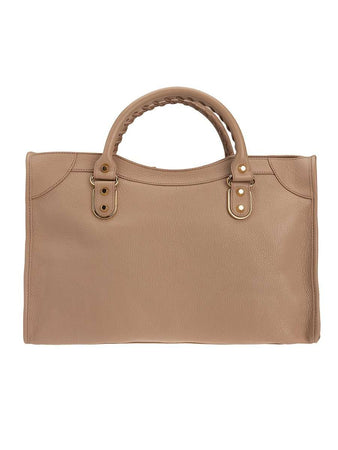 Classic Metallic Edge City Medium Nude Beige Leather Tote back