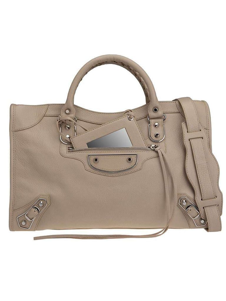 Classic Metallic Edge City Medium Silver & Beige Leather Tote