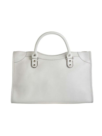 Classic Metallic Edge City Medium White Leather Tote back