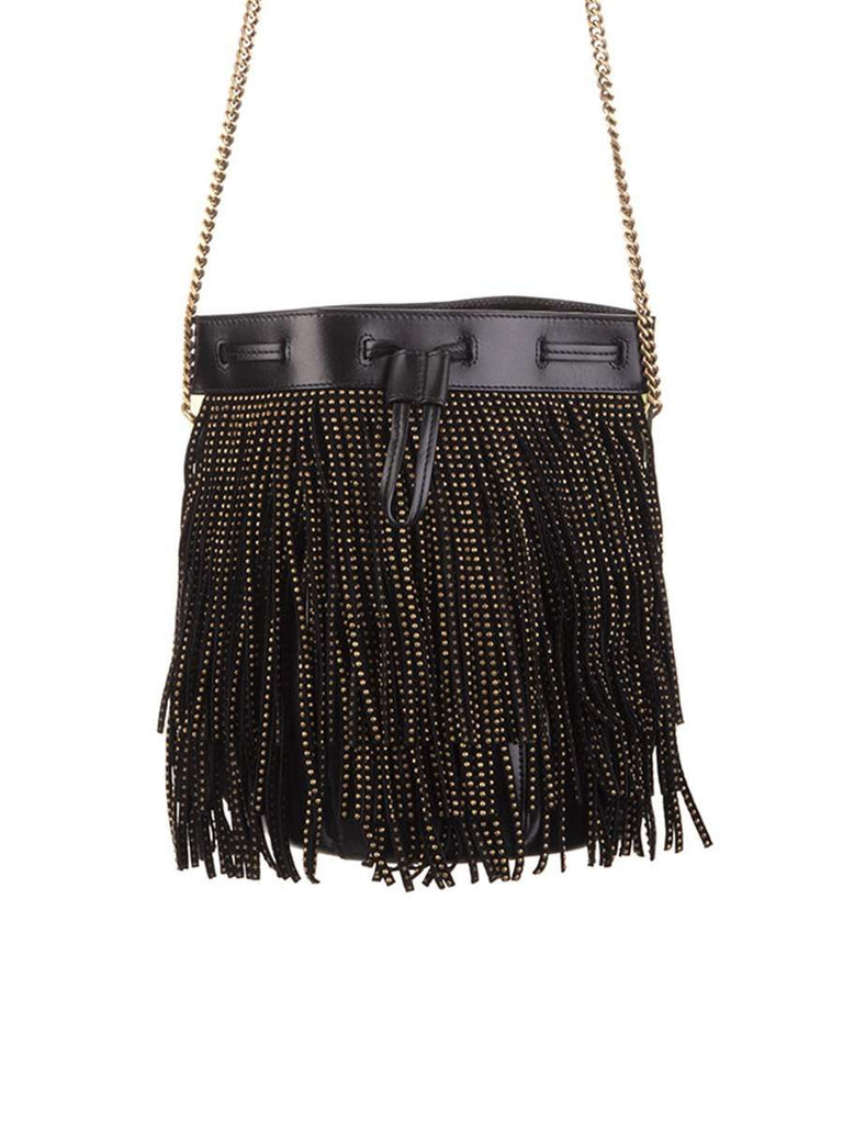 Talitha Small Bucket Bag in Black Suede Decorated with Fringes and Studs