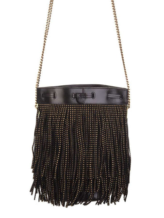 Talitha Small Bucket Bag in Black Suede Decorated with Fringes and Studs back