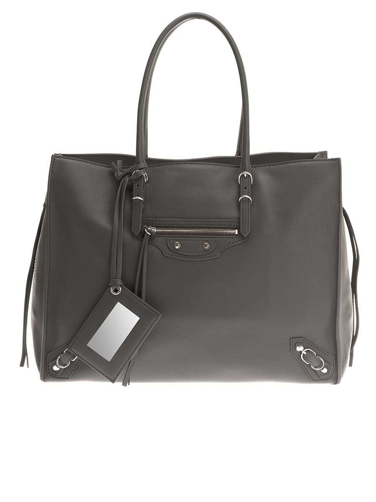 Papier B4 Zip Around Grey Leather Tote