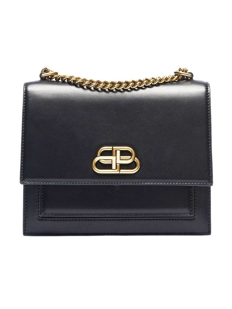 Sharp S Satchel Black Leather Chain Shoulder Bag