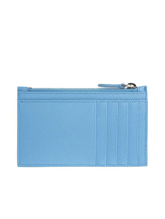 Ville Long Baby Blue Leather Zipped Card Holder