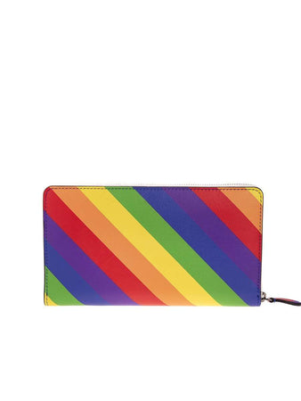 Ville Continental Rainbow Striped Zip Wallet