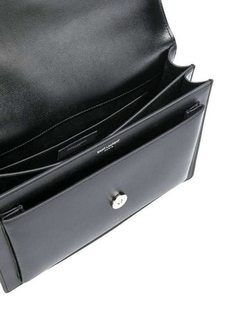 Sunset Medium Black Smooth Leather Shoulder Bag open