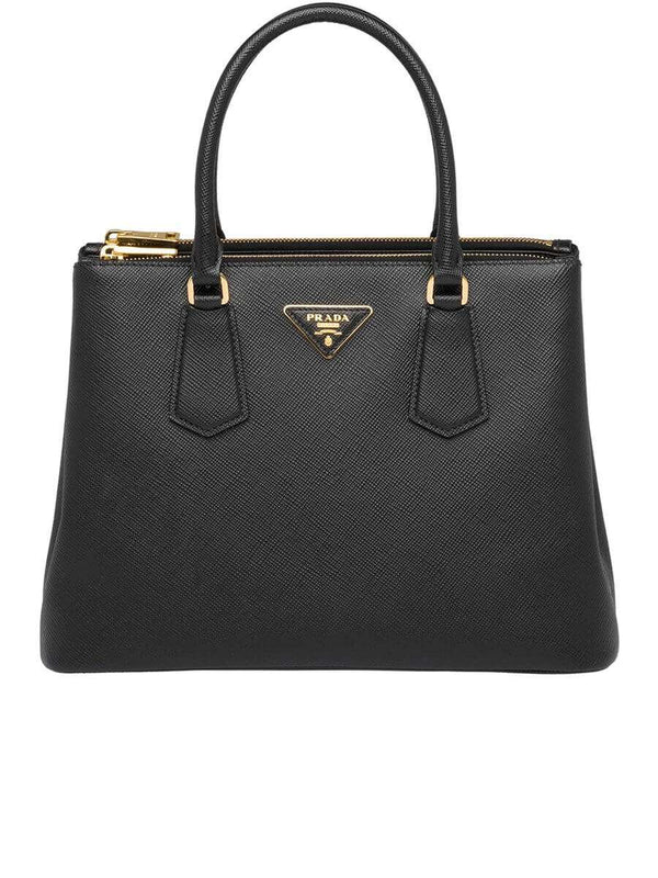 Galleria Saffiano Black Leather Tote Bag