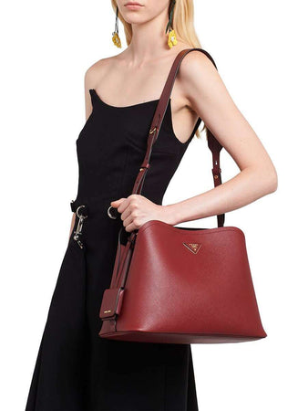 Matinée Cerise Leather Tote Bag wearing