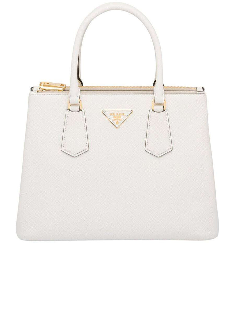 Galleria Saffiano White Leather Tote Bag
