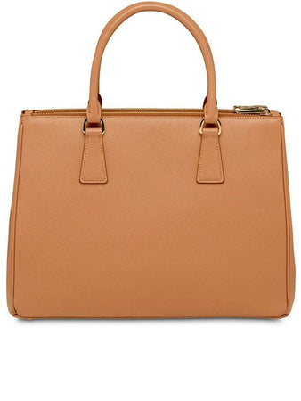 Galleria Saffiano Small Caramel Leather Tote Bag
