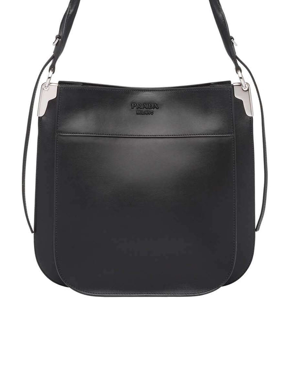 Margit Black Leather Shoulder Bag