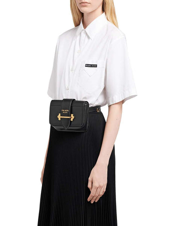 Cahier Black Leather Belt Bag wearing