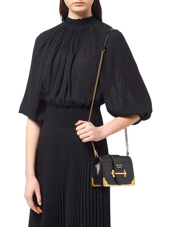 Cahier Black Calf Leather Shoulder Bag wearing