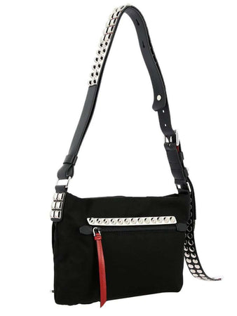 New Vela Black Nylon Studded Satchel front