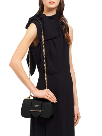 Sidonie Saffiano Black Leather Shoulder Bag