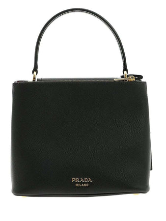 Top Handle Saffiano Leather Black Shoulder Bag back