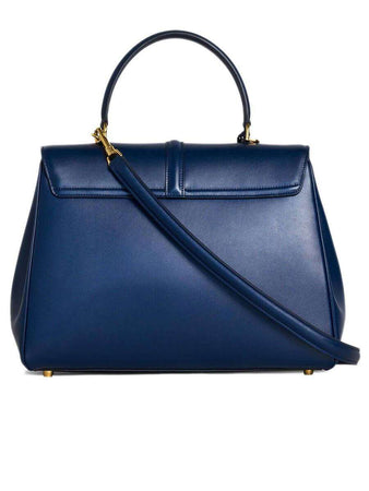 Medium 16 Bag in Dark Blue Satinated Calfskin back