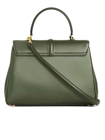 Medium 16 Bag in Kaki Satinated Calfskin back