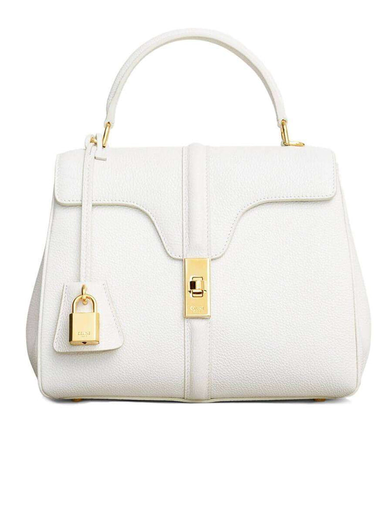 Small 16 Bag in White Grained Calfskin