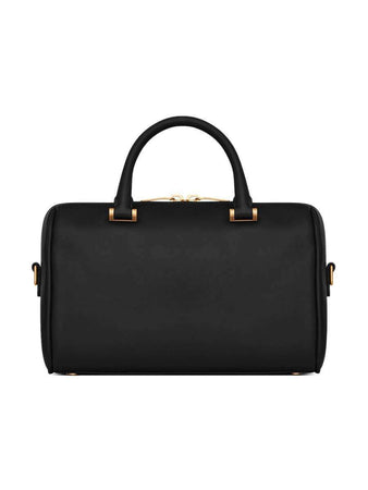Duffle Small in Black Smooth Leather Top Handle Bag back