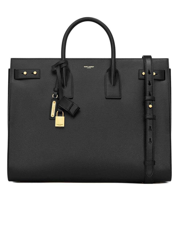 Sac De Jour Large Black Grained Leather Tote
