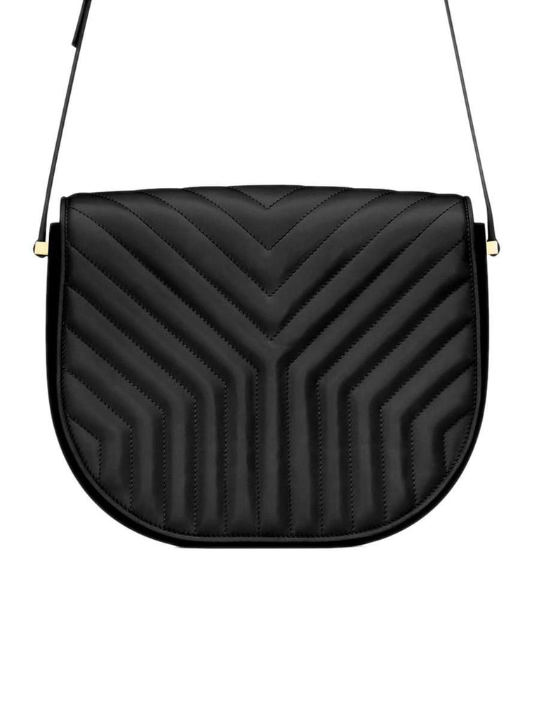 "Joan in ""Y"" Quilted Black Leather Satchel"