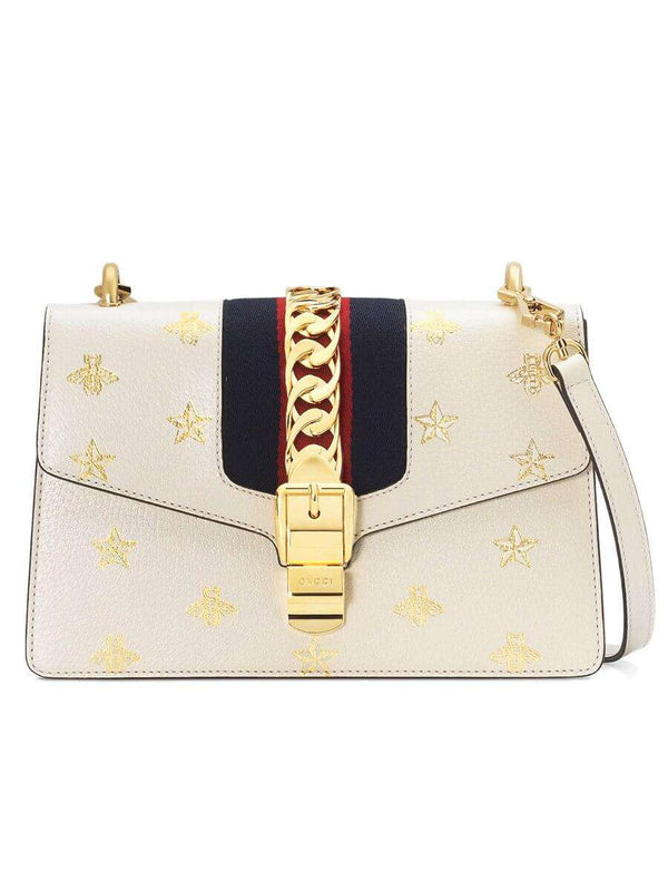 Sylvie Bee Star Small White Leather Bag