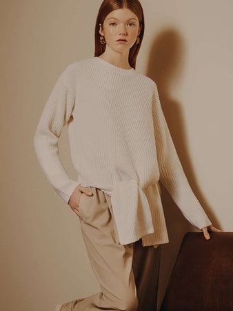 Trimelone Tie-front Rib-knit Sweater